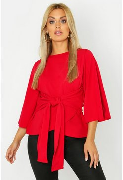 Plus Kimono Sleeve Tie Waist Top, Red
