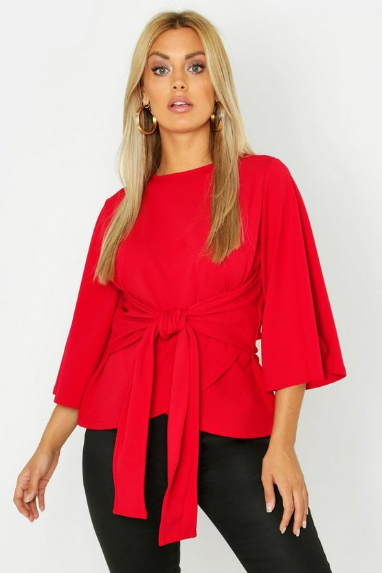 Womens Red Plus Kimono Sleeve Tie Waist Top