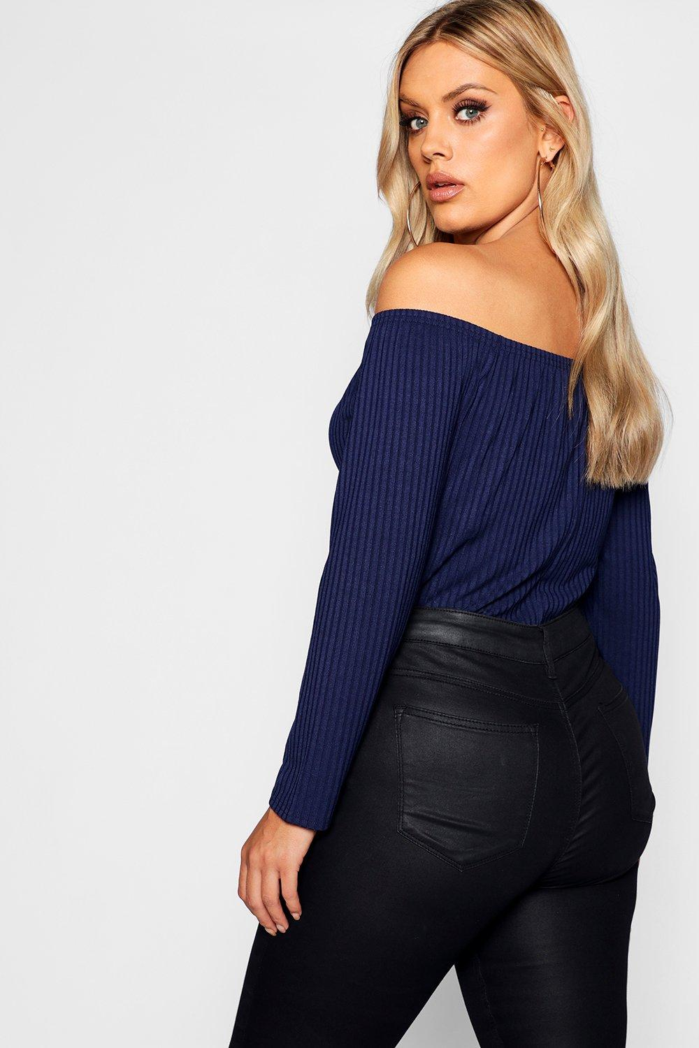 Horn Ribbed Bardot Top Down Button Plus 0dwqSWvv