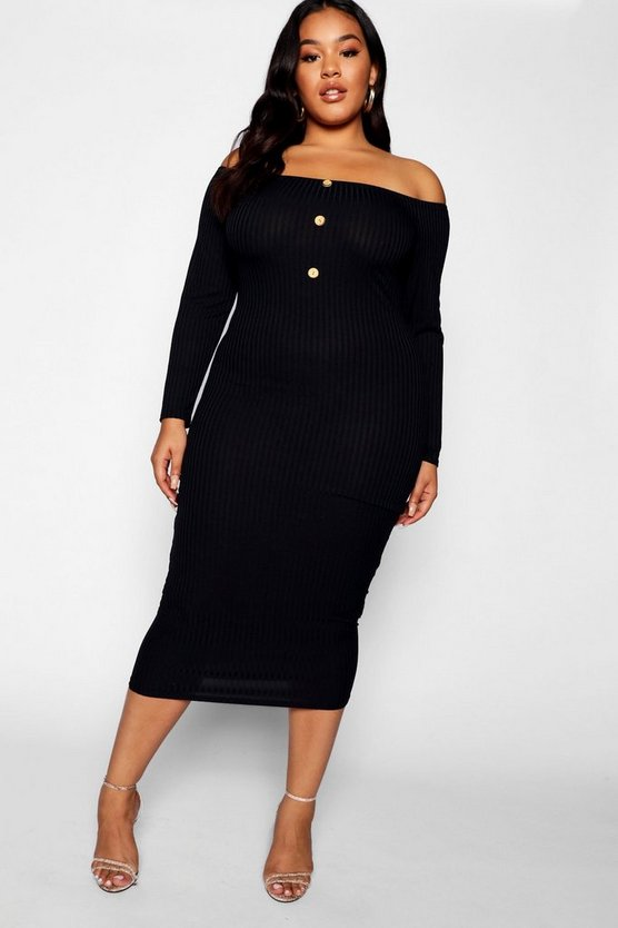 Womens Black Plus Horn Button Down Ribbed Bardot Midi Dress