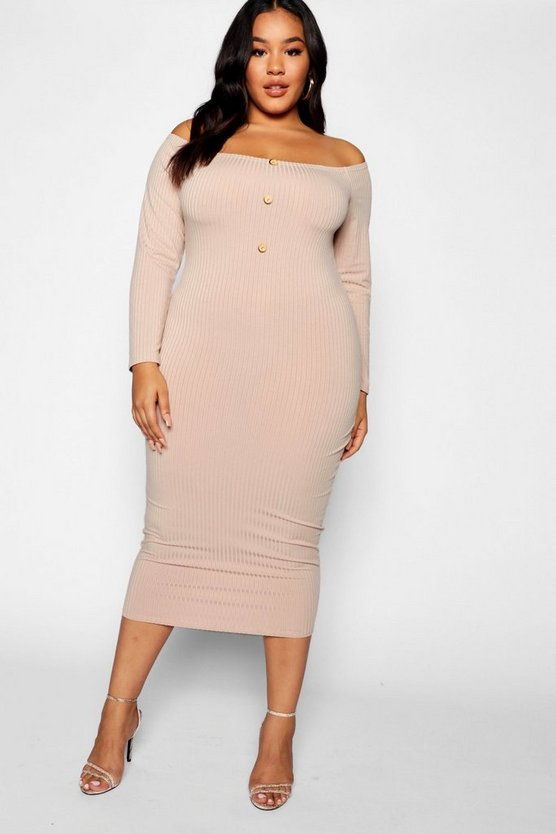 Plus Horn Button Down Ribbed Bardot Midi Dress