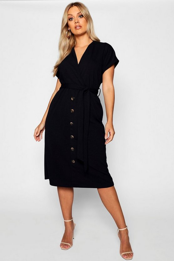 Womens Black Plus Belted Button Down Midi Dress