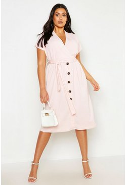 Blush Plus Belted Button Down Midi Dress