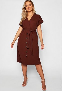 Womens Chocolate Plus Belted Button Down Midi Dress