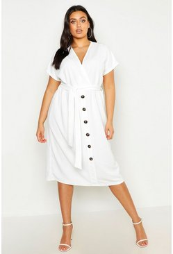 Womens Ivory Plus Belted Button Down Midi Dress