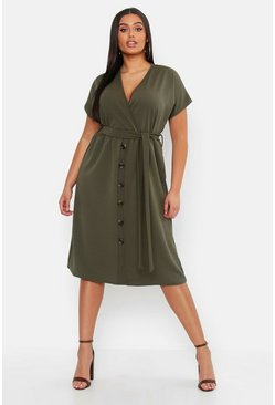 Womens Khaki Plus Belted Button Down Midi Dress
