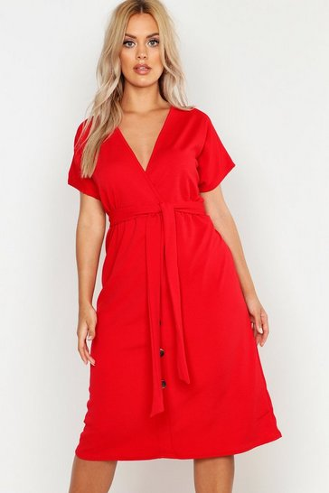 Womens Red Plus Belted Button Down Midi Dress