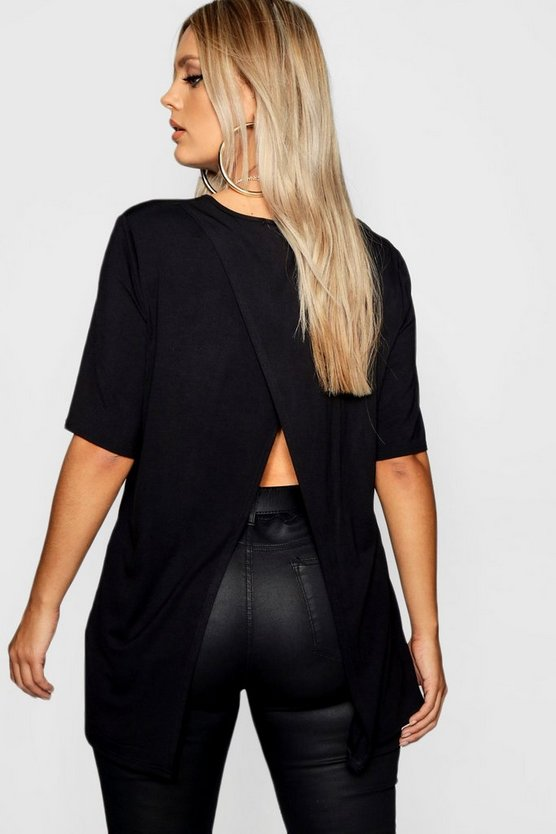 Plus Split Jersey Open Back T-Shirt