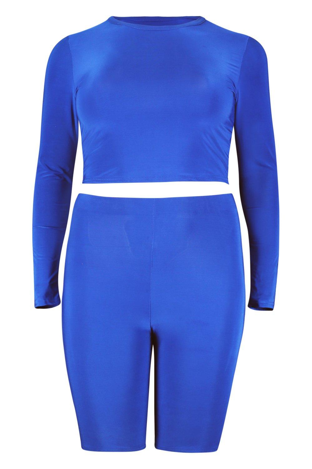 Long Slinky cobalt amp; Sleeve Short Co Ord Cycle Plus Crop qZdHxwg5H