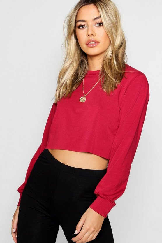 Petite Raw Hem Sweat Top