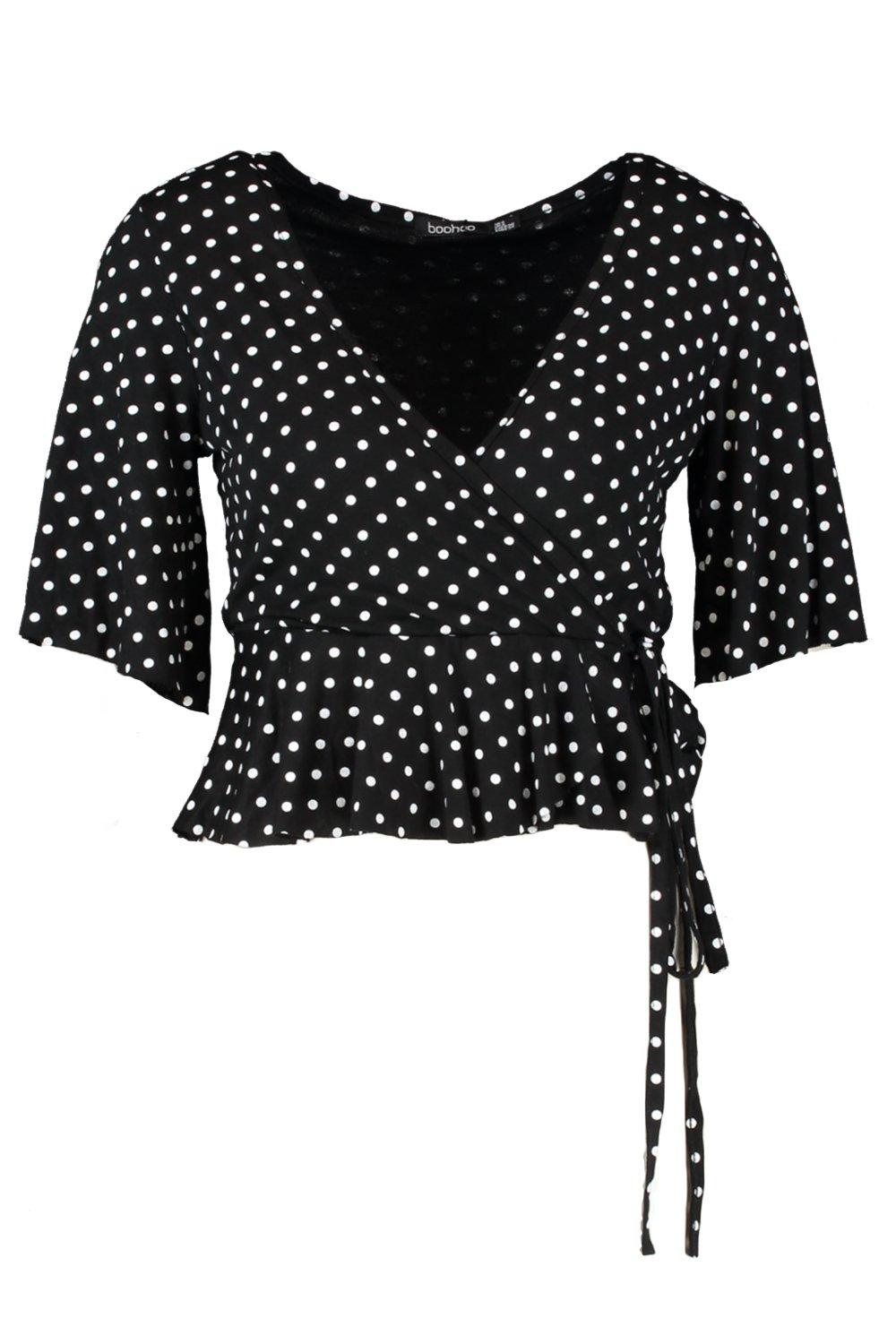 Petite Dot Blouse black Wrap Polka Frill Sleeve Hr5HUq