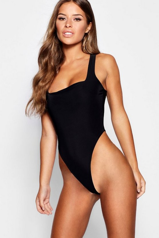 Womens Black Petite Square Neck Slinky Bodysuit