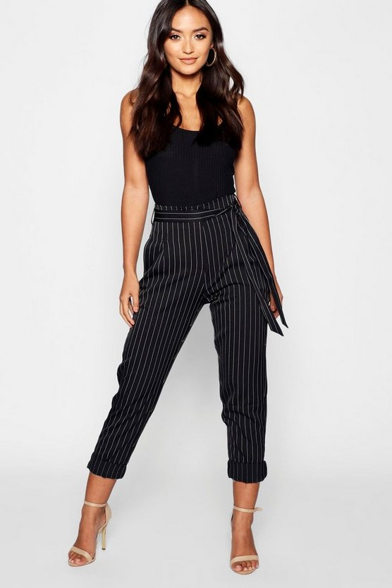 Womens Black Petite Tie Waist Turn Up Stripe Pants