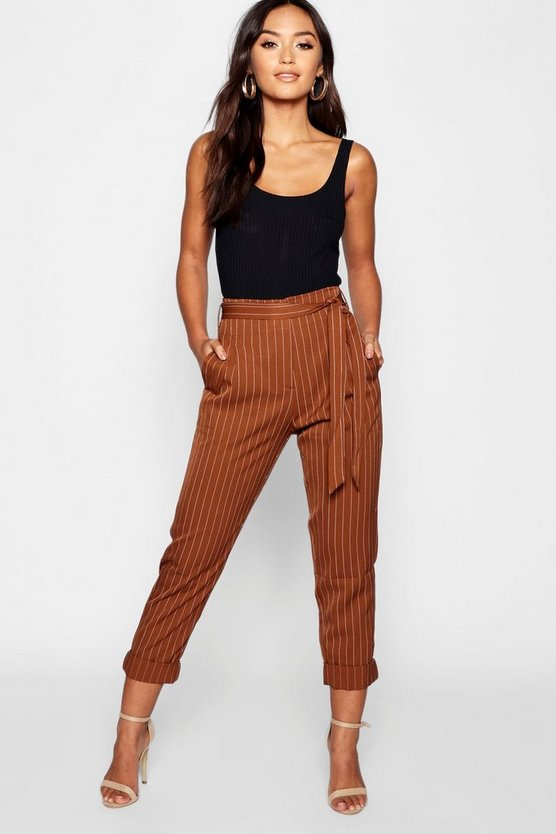Petite Tie Waist Turn Up Stripe Trouser