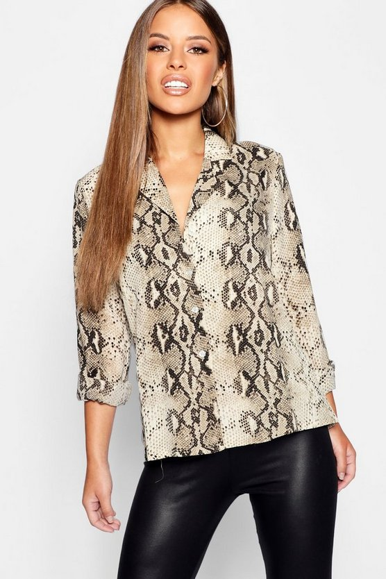 Petite Snake Print Long Sleeve Shirt