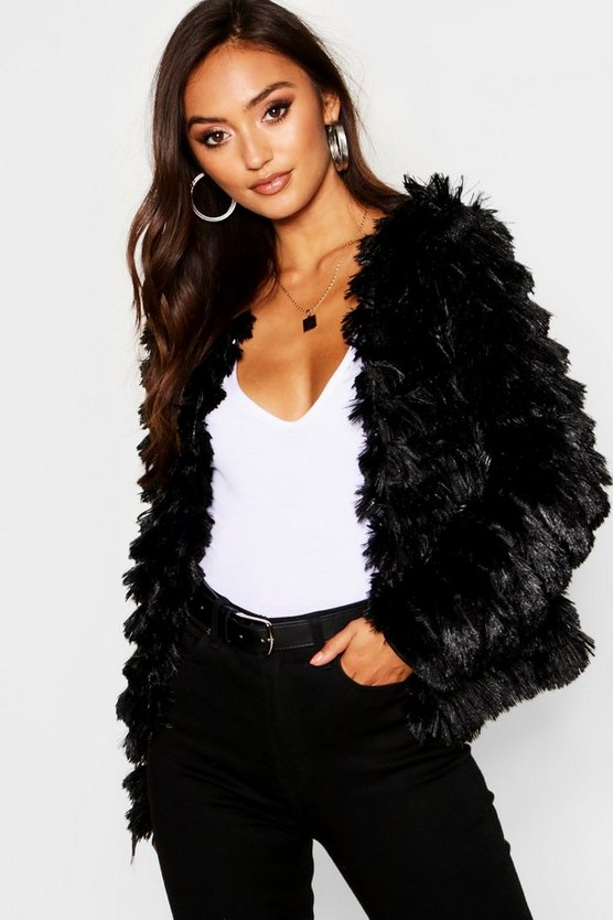 Womens Black Petite Tiered Faux Fur Jacket