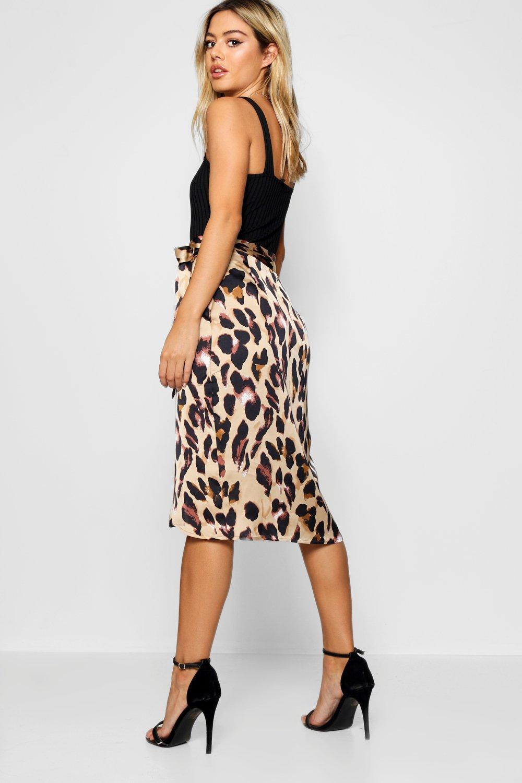 30e3680f3b Close video. Womens Brown Petite Leopard Print Satin Wrap Midi Skirt  alternative image · Womens Brown ...