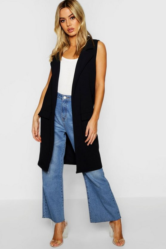 Petite Sleeveless Pocket Detail Longline Duster