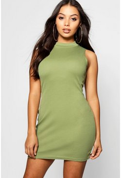 Womens Olive Petite High Neck Bodycon Dress
