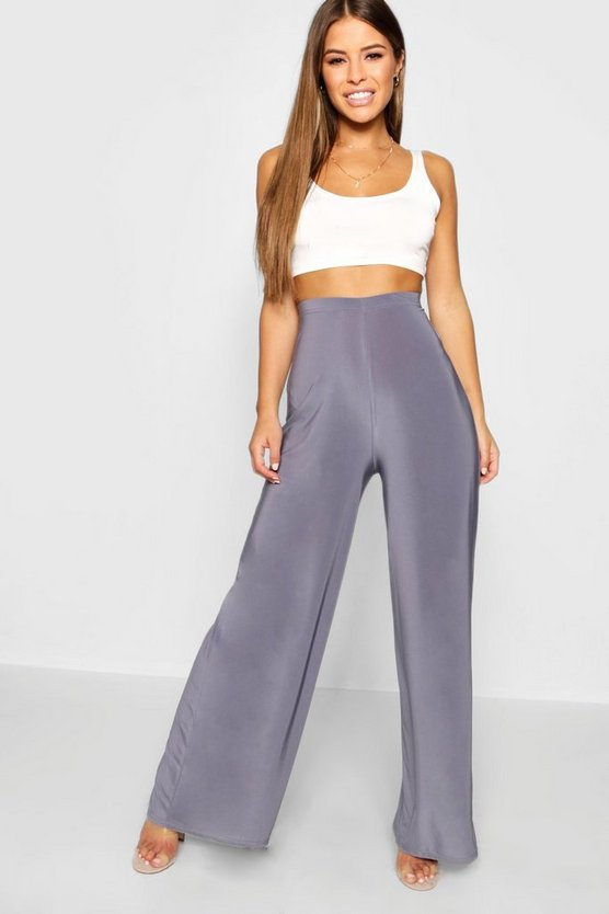 Petite High Waist Wide Leg Slinky Trouser
