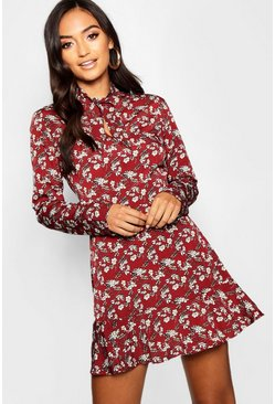 Berry Petite Woven Tie Neck Floral Tea Dress