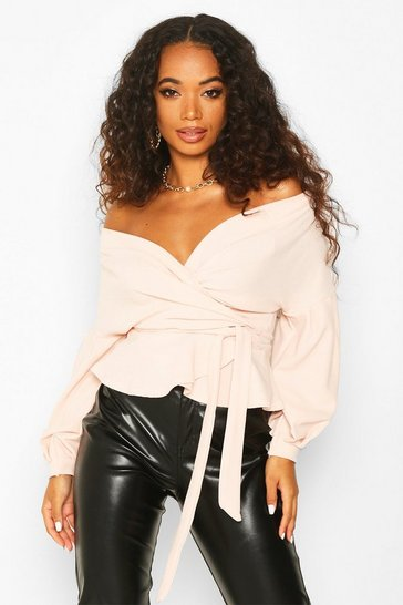 Blush Petite Off The Shoulder Blouse