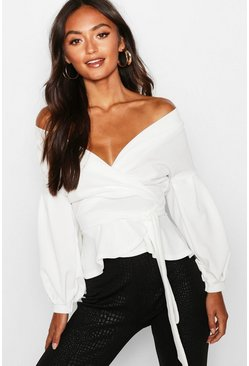 Womens Ivory Petite Off The Shoulder Blouse