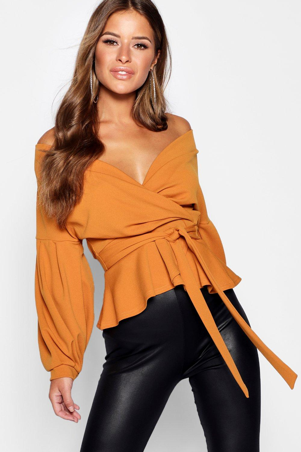 Petite Off Blouse mustard The Shoulder rraqdU