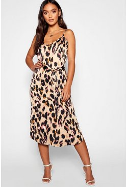 Womens Brown Petite Leopard Print Strappy Midi Dress