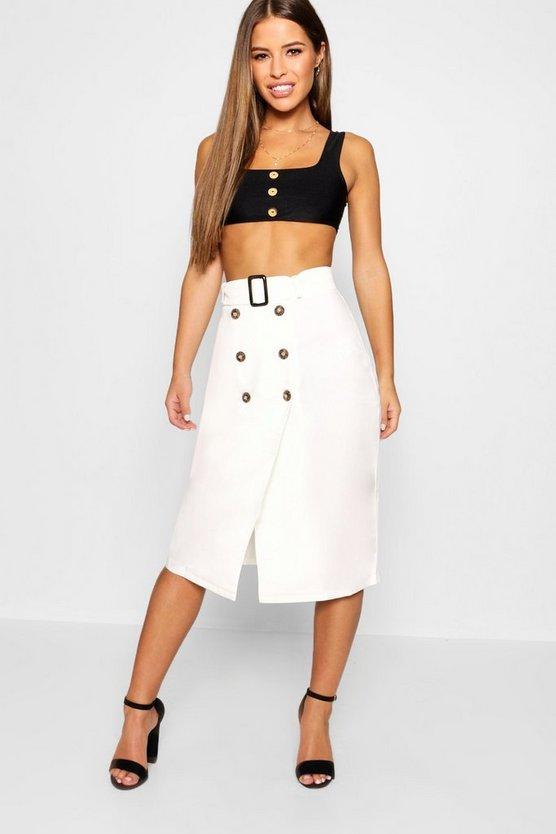 Petite Belted Mock Horn Button Midi Skirt