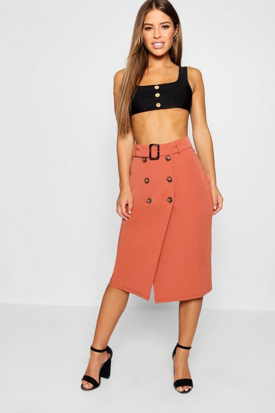 Womens Rust Petite Belted Mock Horn Button Midi Skirt