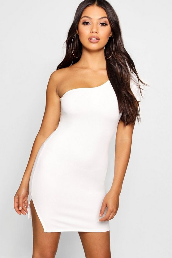 Petite One Shoulder Split Hem Mini Dress