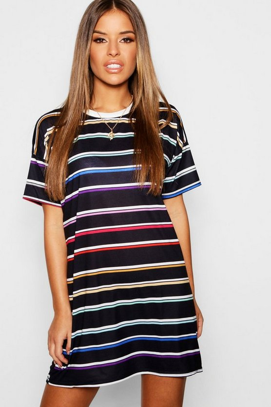 Womens Black Petite Multi Stripe T-Shirt Dress