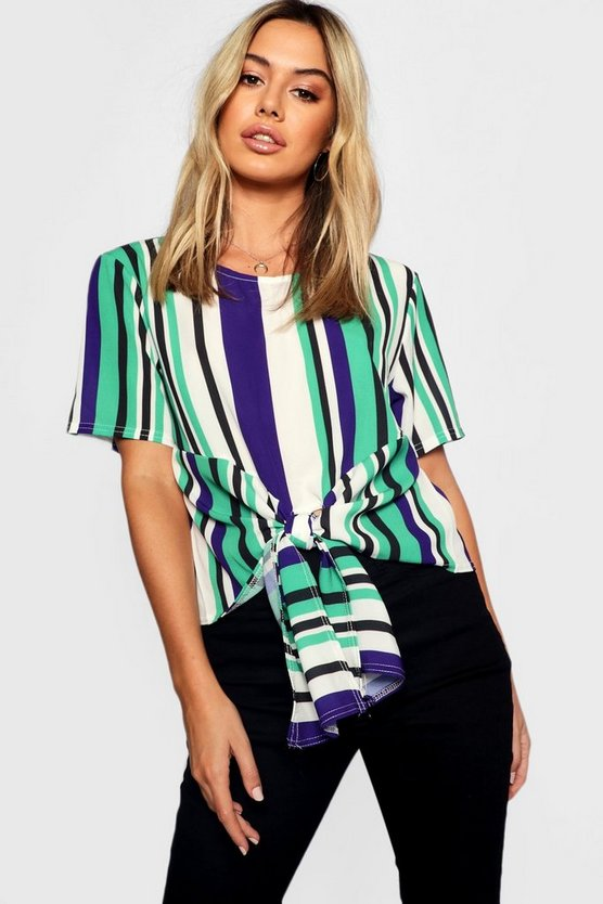 Petite Woven Stripped Tie Front Blouse