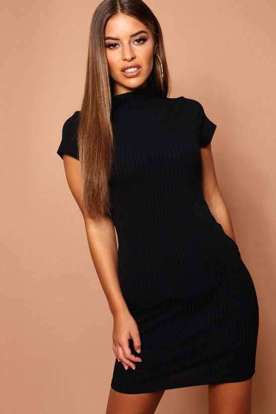 Womens Black Petite High Neck Bodycon Dress