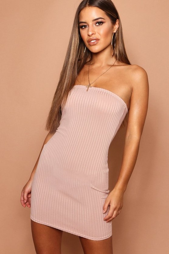 Petite Jumbo Rib Bandeau Bodycon Dress