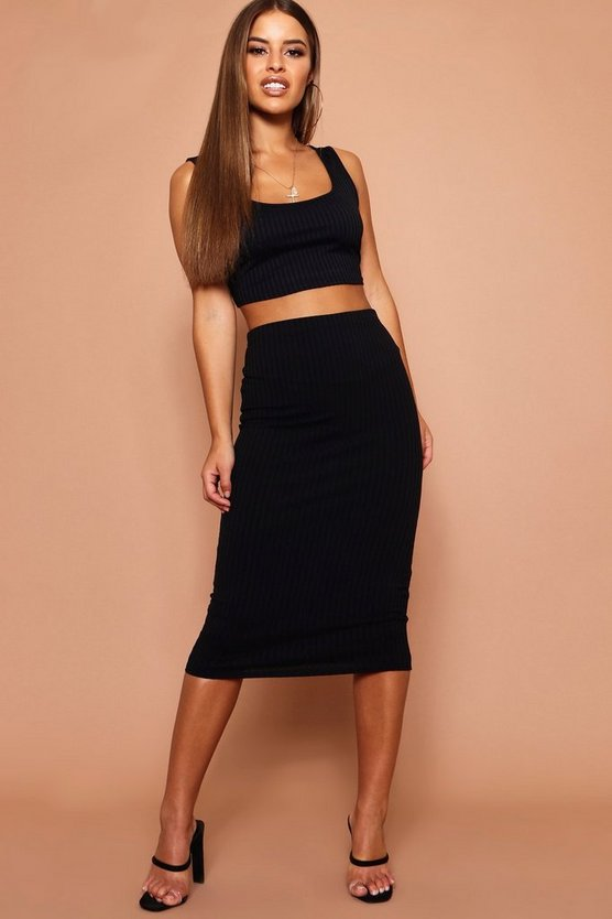 Womens Black Petite Jumbo Rib Midi Skirt