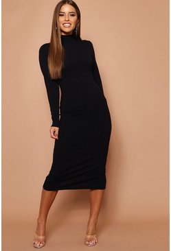 Black Petite High Neck Jumbo Rib Midi Dress