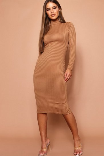 Womens Camel Petite High Neck Jumbo Rib Midi Dress