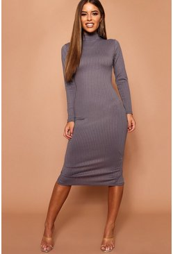 Womens Charcoal Petite High Neck Jumbo Rib Midi Dress