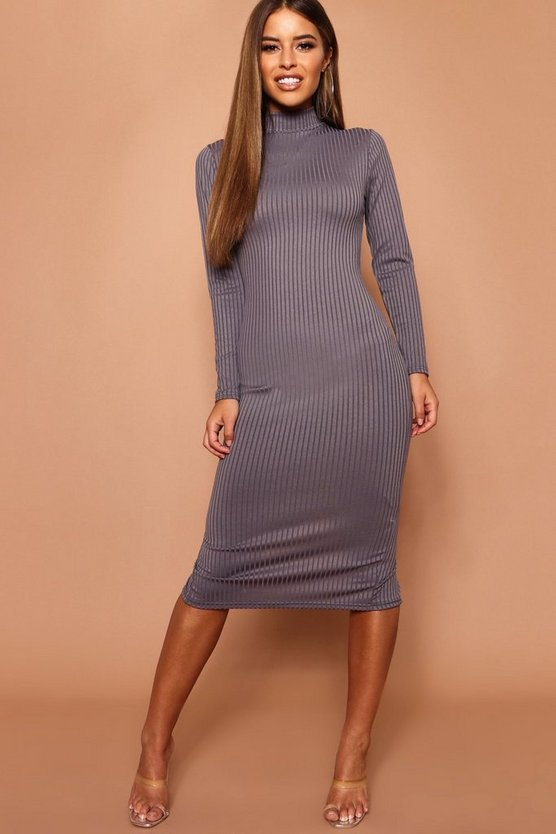 Petite High Neck Jumbo Rib Midi Dress