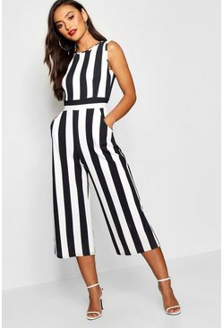 Petite Monochrome High Neck Striped Jumpsuit, Black, Donna