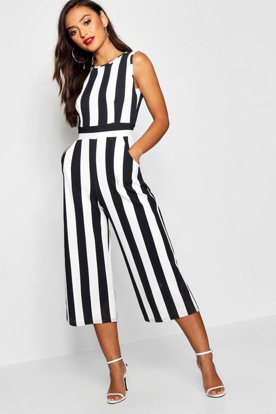 Womens Black Petite Monochrome High Neck Striped Jumpsuit