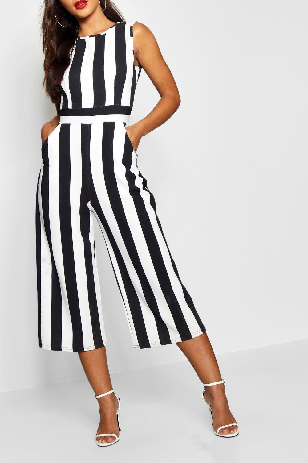 Neck High Striped Jumpsuit Petite Monochrome black q4FOwE