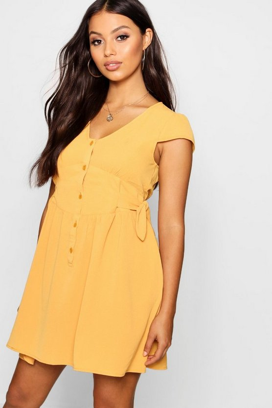 Petite Button Font Tie Side Dress