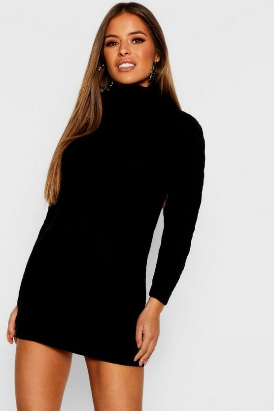 Womens Black Petite Roll Neck Cable Knit Sweater Dress