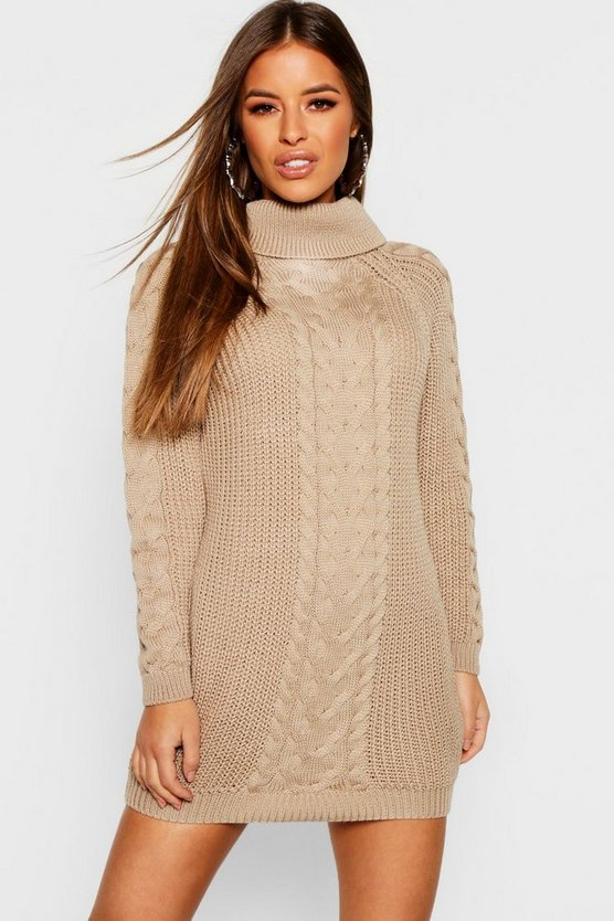 Petite Roll Neck Cable Knit Jumper Dress by Boohoo