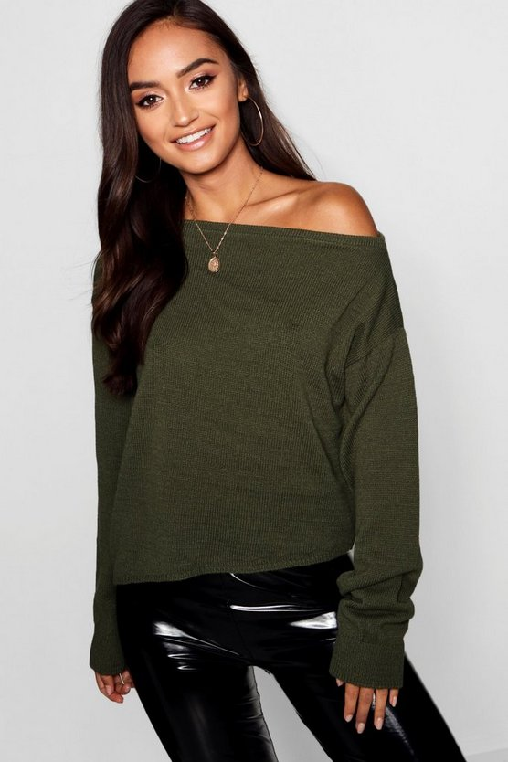 Womens Olive Petite Slash Neck Slouchy Sweater