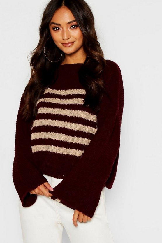 Petite Wide Sleeve High Neck Jumper