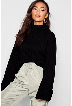 Womens Black Petite Rib Knit High Neck Jumper